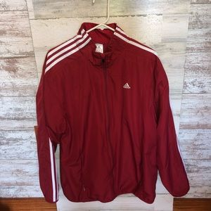 Red and white Adidas wind breaker rain jacket size medium